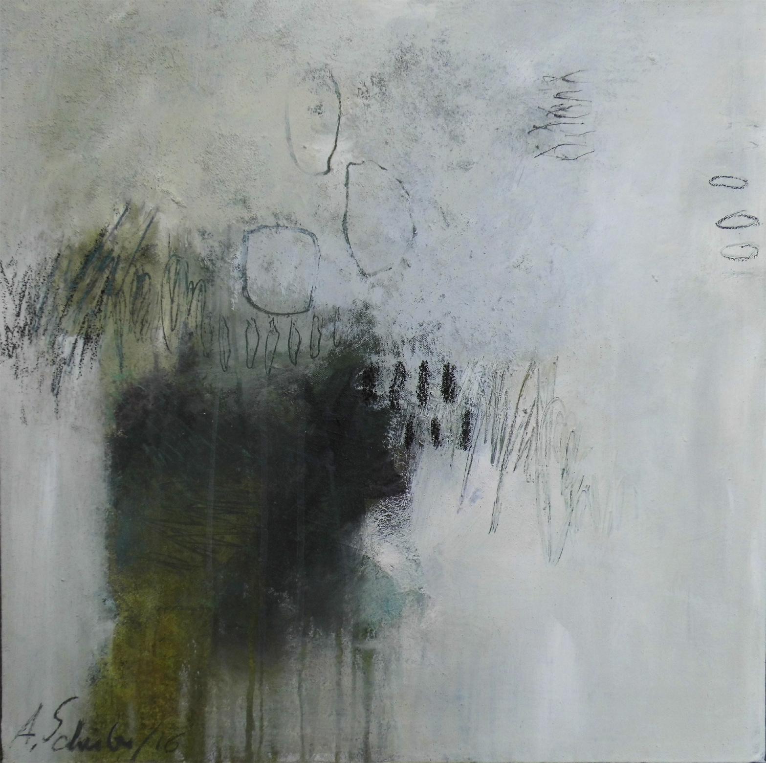 Hidden things, 60 x  60 x  3 cm, mixed media auf Leinwand