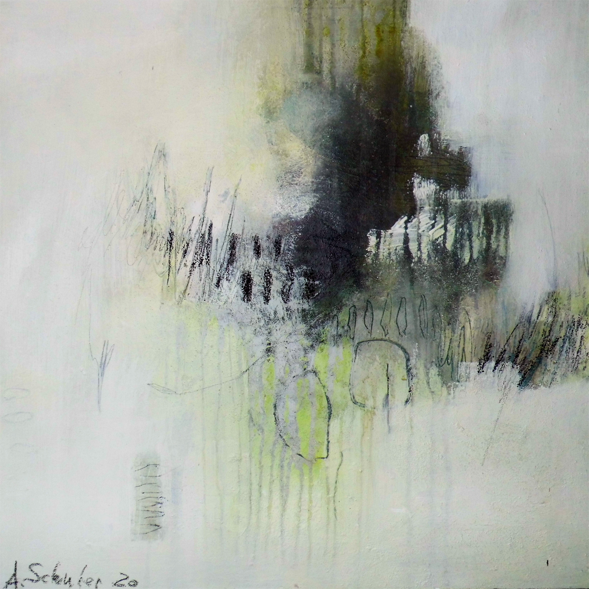 Hidden things, 60 x  60 x  3 cm, mixed media auf Leinwand